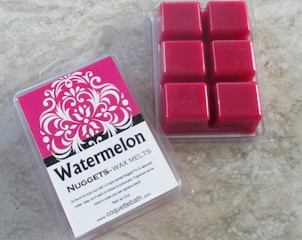 Watermelon scented Wax Melts, Nuggets, Paraffin blend wax tart, dark pink wax, realistic fruity fragrance, no burn home scent