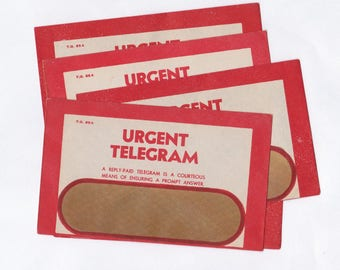 Vintage RED Australia Post Urgent Telegram Envelopes, Window Envelopes,  Post Office Ephemera x 5  UNUSED  for Crafting or Collecting