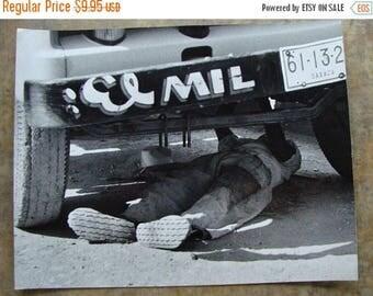 ONSALE Vintage 1950s News Journalist Black and White Photo Garage Mechanic