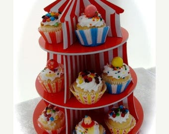 ONSALE Adorable Circus Display Cupcake Tier for Assemblage or Carnival Art