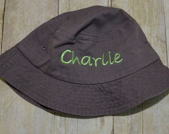 Personalized bucket hat, boys bucket hat, embroidered hat, beach hat, lake hat