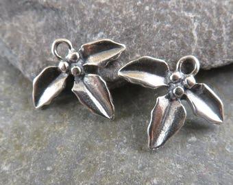 Sterling Silver Three Leaf Charms - Artisan Sterling Silver - Artisan Sterling Charms - One Pair - ctl