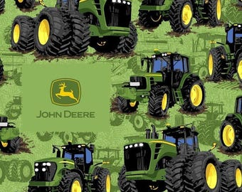 John Deere Tractor Flip Cotton Fabric sold by the yard
