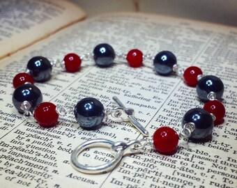 Hematite and Glass Bracelet