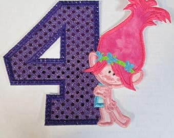 Troll Character Inspired Birthday Set - Iron On or Sew On Embroidered Applique Patch