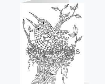 Printable Fairy Tangles Greeting Cards to Color by Norma J Burnell 5x7 Hummingbird Greeting Cards for Card Making & Adult Coloring