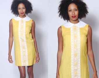 Vintage 60s Yellow Mini Dress LACE Trimmed Dolly Dress Sleeveless Shift Dress LINEN Mod Dress Never Worn