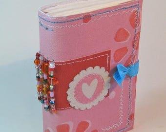 Pink Journal, Painted Canvas Journal, Hand bound Journal, Mixed Media Journal, Writers Journal, Bohemian Journal, Boho, Traveler's Notebook