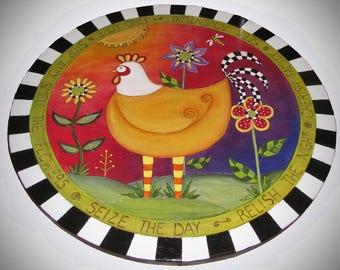 """LAZY SUSAN, Whimsical Rooster lazy susan, Ready to Ship, 20"""" diameter lazy susan, wood lazy susan, farmhouse lazy susan, hand painted, funky"""