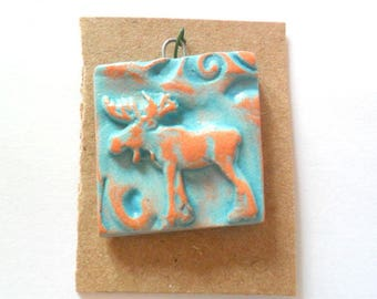 Little Moose Distressed Turquoise Glazed Terra Cotta Petroglyph Pendant Finding
