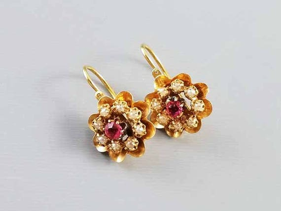 Antique European made Edwardian 14k gold reverse lever back seed pearl and pink paste pierced halo earrings
