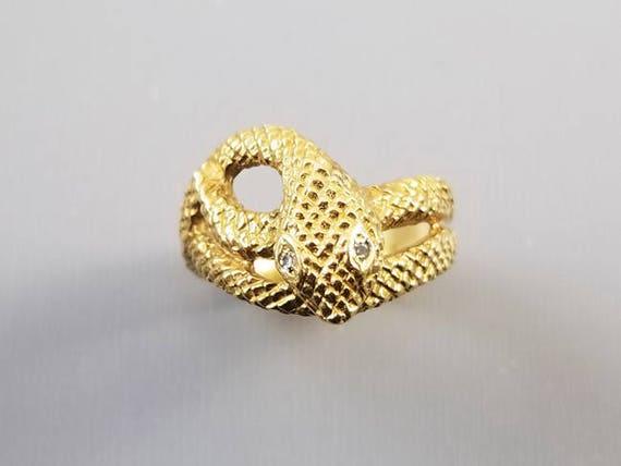 Vintage 18k gold diamond textured snake ring, 1972, mens, womens unisex, size 9-1/2, English London Assay Office maker marked, 8.2 grams