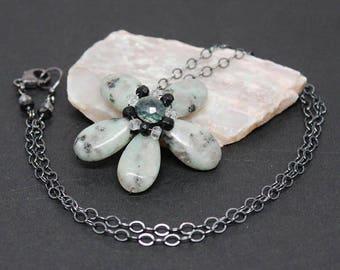 Oxidized Sterling Silver, Gemstone Flower Pendant Necklace, Sesame Jasper, Quartz, and Black Spinel, Wire Wrapped Flower Pendant, N17113