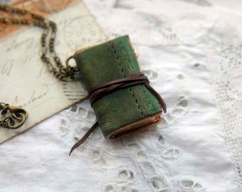 The Little Green Hobo - Miniature Wearable Book, Distressed Green Leather, Tea-Stained Pages, OOAK