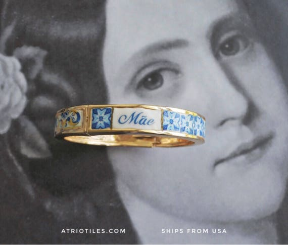 Mãe Mother BRACEleT - Mother's Day Portugal Antique 17th century Azulejo Tile Replicas - Blue Gold-  Ericeira Rose GOLD Tone