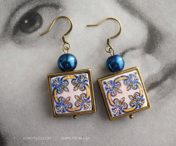 Earrings Portugal Tile Azulejos Portuguese 1560 - Santa Maria da Feira  (see photos of Convent) Gift Box Included Ships from USA  642