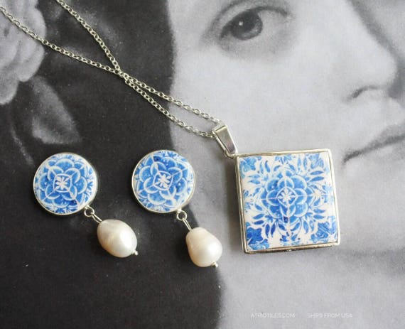 Silver Necklace SET Portugal Earrings Stud Tile Azulejo Blue 16th Century - Tomar - Convent of Christ - Camellias Ships from USA