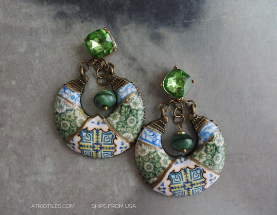 Earrings Portugal Tile Azulejos Green Mafra and Ovar Antique Tiles with Rhinestone Posts Studs Chandelier Czech glass beads Ships from USA