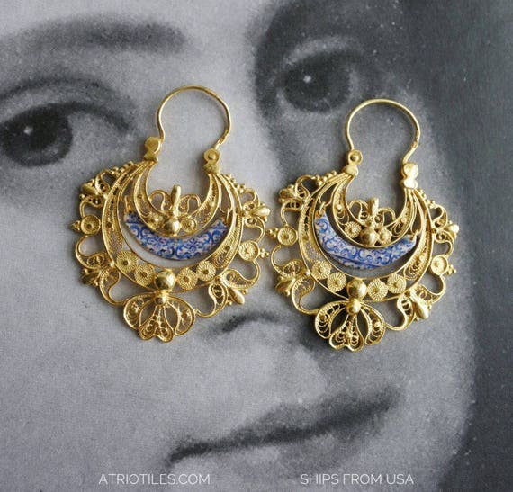 Earrings Filigree Silver Portugal  24k Gold Bath Queen's Earrings - Brincos da Rainha  Ships from USA