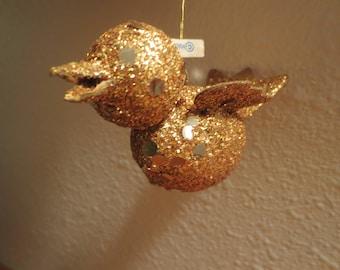 Lot of 10 vintage gold glitter christmas Ornaments / gold glitter birds / Made in Japan / Retro mid Century bird ornaments