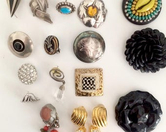 Assorted Silver, Ceramic, Costume Earring Pairs & Singles