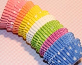 NEW - Mini Pastel Rainbow Polka Dot & Solid Cupcake Liners (Qty 110) Mini Pastel Rainbow Cupcake Liners, Mini Pastel Rainbow Baking Cups