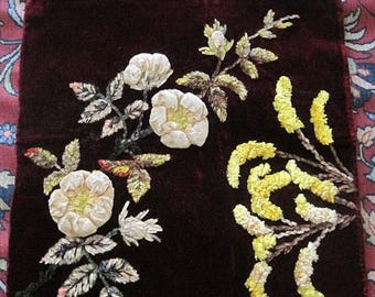 Antique Chenille Velvet Embroidery Pillow Top
