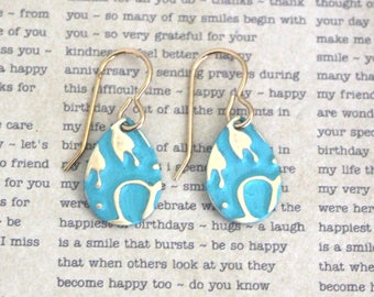 Small Petite Earrings, Vintaj Earrings, Vintaj Jewelry, Turquoise Jewelry, Boho Jewelry, Dainty, Patina Jewelry, Brass Jewelry, Wildflowers