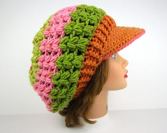Newsboy Cap - Crochet Hat With Brim - Women's Newsboy Hat - Brimmed Beanie - Strawberry Kiwi Hat - Visor Hat - Crochet Accessories