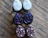 Tear Drop Shaped  Faux Druzy Rough Crystal Plugs Gauges for stretched earlobes.Rose Gold. Opal White. Purple. 2g (6mm) 0g (8mm), 00g (10mm)