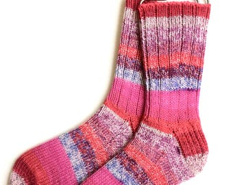 Socks for Women, Teen Girls, Handknit Socks, wool socks, knitted socks, striped socks. red socks, pink socks, merino socks, DK weight socks