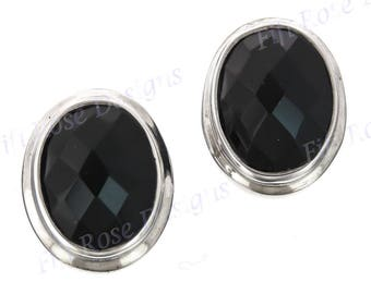 "7/16"" Elegant Onyx 925 Sterling Silver Post Earrings"