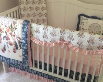 Baby Girl Crib Bedding Set Blush Pink Navy Blue Dreamcatcher Feathers Watercolor Ships Fast Dream Big Little One