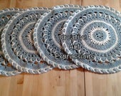 Reserved for Kelee - Set of 4 Gray & Ivory Place Mats