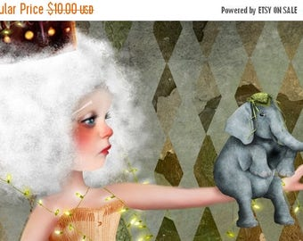 "50% Off SALE 5x7 Premium Art Print - ""Carnivàle"" - Small Size Giclee Print - Circus Performer Lowbrow Artwork Mixed Media Digital Painting a"