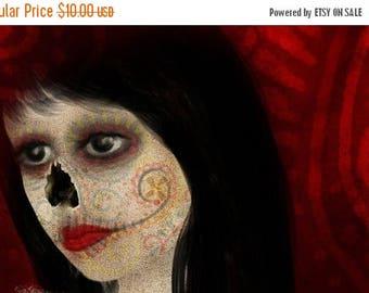 "50% Off SALE 5x7 Premium Art Print ""Dia De Los Muertos"" Small Size Giclee Print of Original Artwork - Day of the Dead Halloween Woman Mexica"