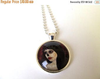 """50% Off SALE Art Necklace """"Dia De Los Muertos"""" Day of the Dead Girl Print of Original Artwork Set Under Glass 1"""" Round Pendant and Chain"""