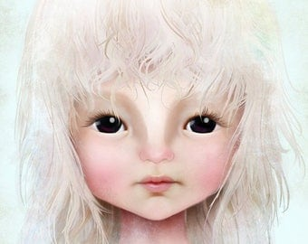 50% Off SALE Fine Art Print - 'Darkheart' - Little Dark Eyed Girl with Blonde Hair - 11x17 or 13x19 Large Sized Giclee Print Solocosmo