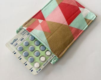 Birth Control Pill Sleeve, Modern Geometric Pill Case, Designer Fabric, Pill Sleeve, Cute and Discreet for your Bag
