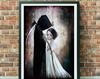 Forbidden Love Art Print - Grim Reaper Art Print - Grim Reaper Wall Decor - The Lengths I'd Go To Be With You