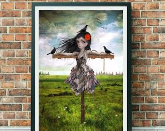 A3 Art Print - Large Print - Scarecrow Print - Big Eyed Girl - Meadow