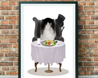 Ragdoll Cat Art print - Cat Art Print - Anthro Art - Wall Decor - A Light Lunch