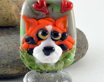 TIGER, Orange Tiger in Love,  Glass Sculpture Collectible, Focal Bead, Izzybeads SRA