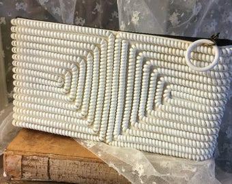 Fun White Telephone Cord Clutch Purse Unsigned 1940's Rectangular Black Fabric Inside Pull Ring Feminine Handbag Sweet Charming Girlish