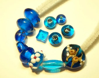 DESTASH - 13 Assorted Capri Blue Glass Beads