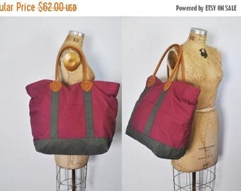 SALE LL Bean Canvas Tote / brown leather strap Weekender bag