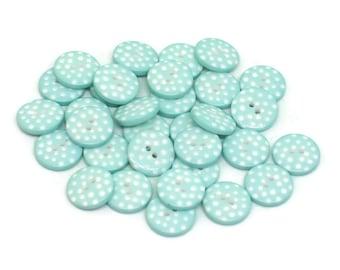 Aqua Polka Dot Buttons, Sewing Buttons, Craft Buttons, Aqua and White Polka Dot Buttons