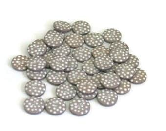 Grey Polka Dot Buttons for Sewing Scrapbooking Crafts Knitting Crochet Quilting 12mm Round Button for Christmas and Kids Craft Mixed Media