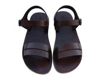 CLEARANCE SALE - Dark Brown Hammer Leather Sandals - All Leather Sole  - Euro # 39 - Handmade Unisex Sandals, Genuine Leather, Sale