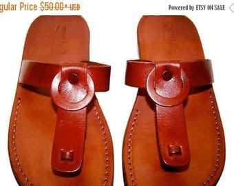 15% OFF Brown Ring Leather Sandals For Men & Women - Handmade Unisex Sandals, Flip Flop Sandals, Jesus Sandals, Genuine Leather Sandals
